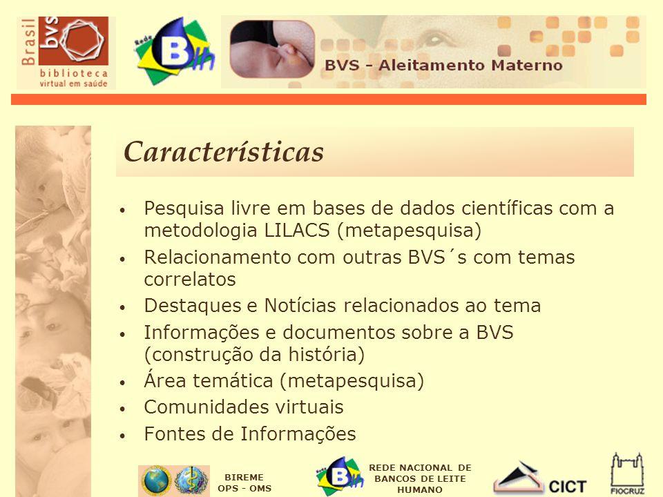 Características Pesquisa livre em bases de dados científicas com a metodologia LILACS (metapesquisa)