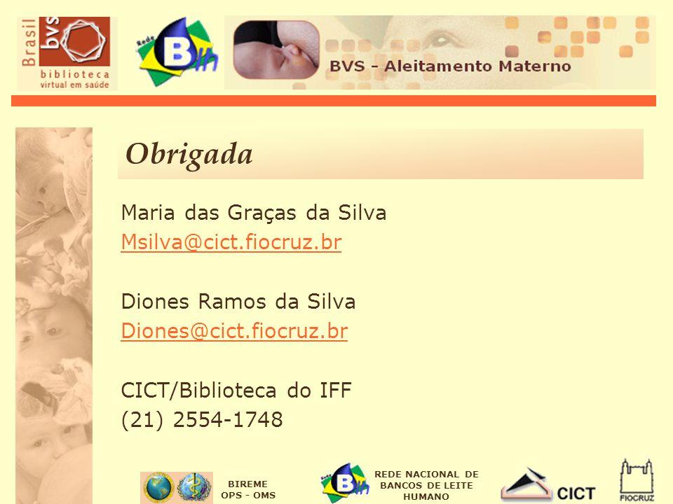 Obrigada Maria das Graças da Silva Msilva@cict.fiocruz.br