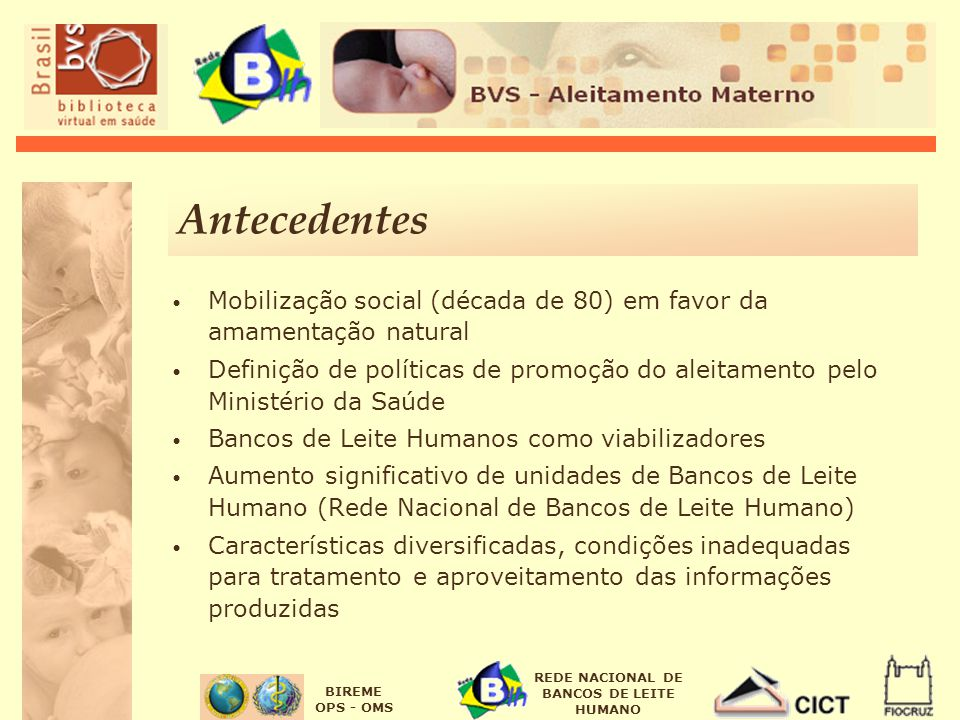 Antecedentes Mobilização social (década de 80) em favor da amamentação natural.
