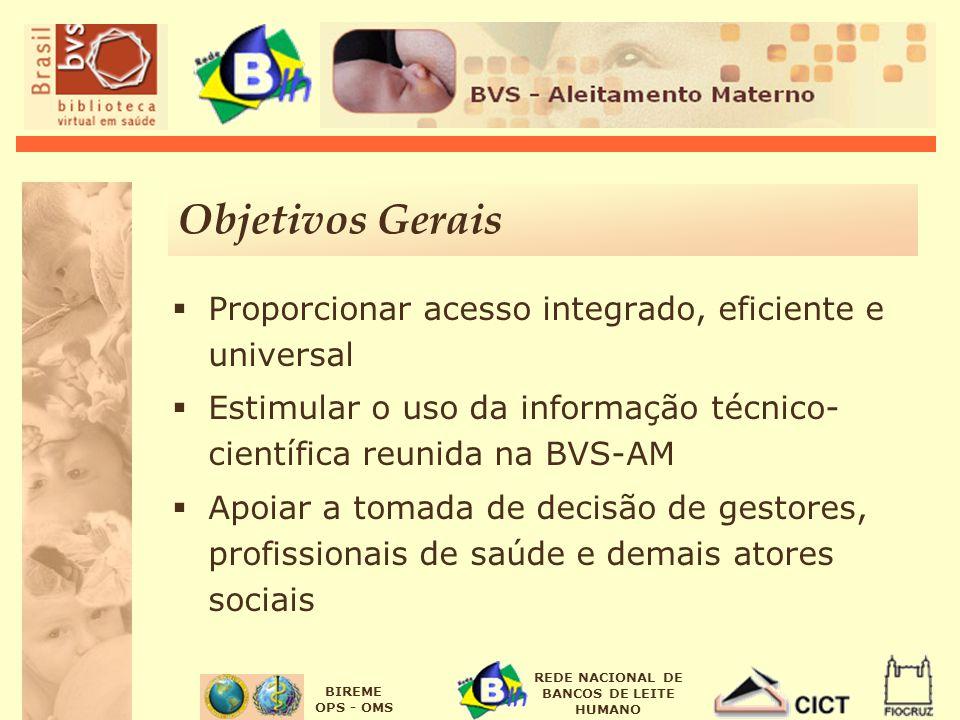 Objetivos Gerais Proporcionar acesso integrado, eficiente e universal