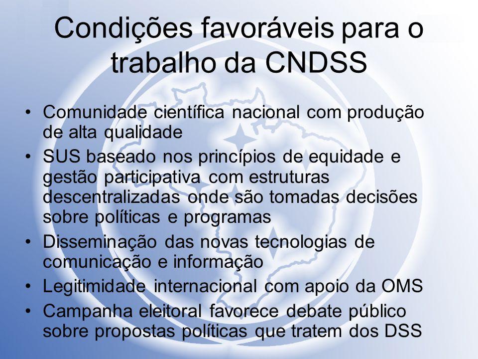 Condições favoráveis para o trabalho da CNDSS