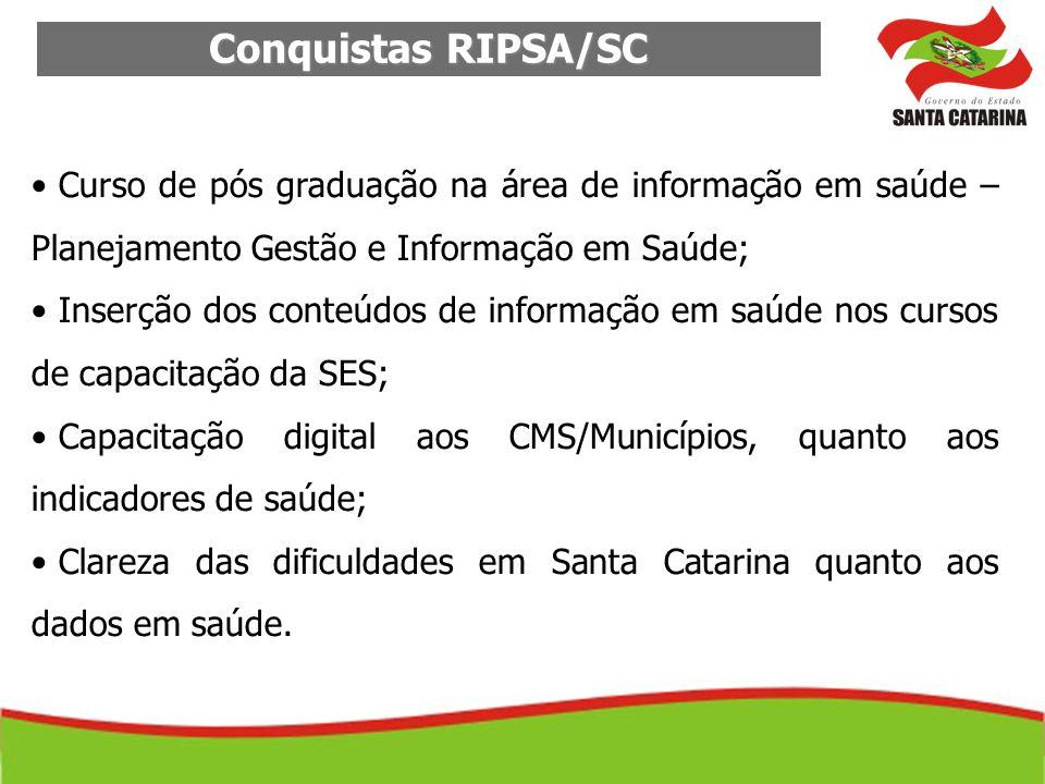 Conquistas RIPSA/SC Curso de pós graduação na área de informação em saúde – Planejamento Gestão e Informação em Saúde;