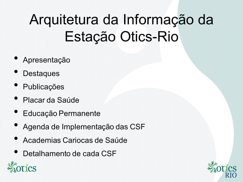 Arquitetura da Informação da Estação Otics-Rio