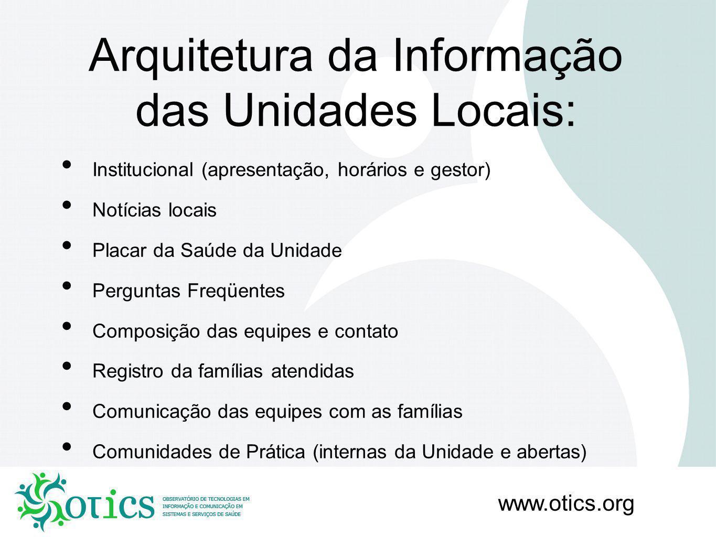 Arquitetura da Informação das Unidades Locais: