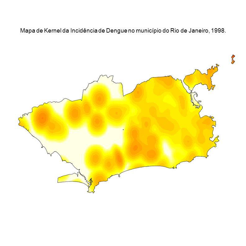 Mapa de Kernel da Incidência de Dengue no município do Rio de Janeiro, 1998.