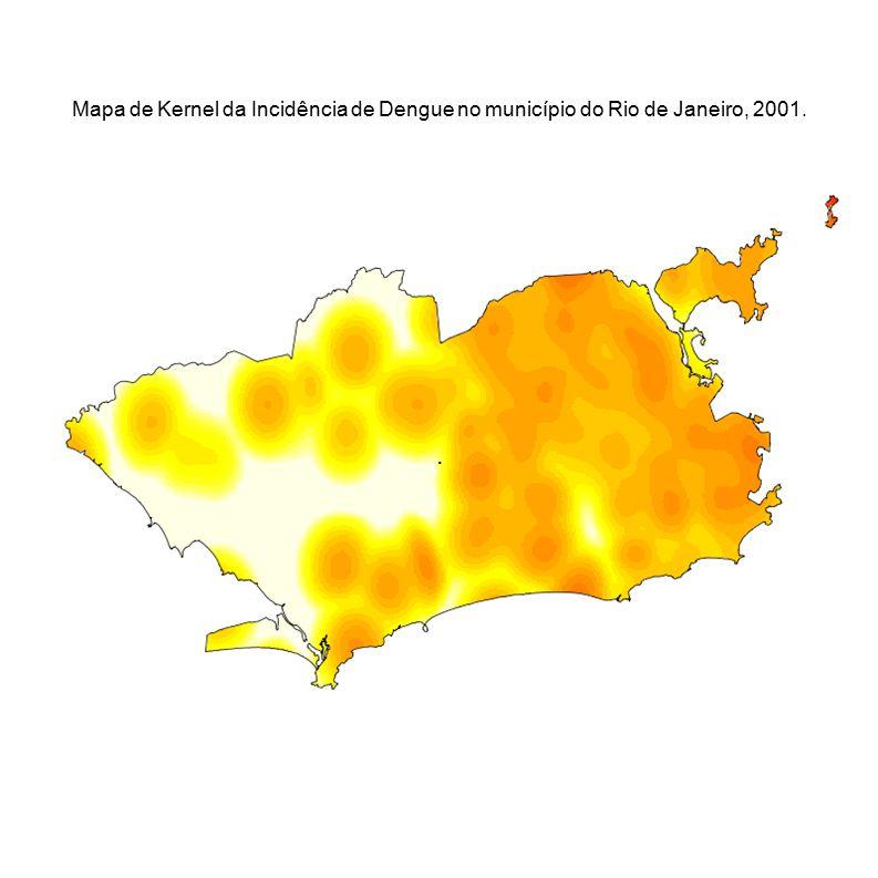 Mapa de Kernel da Incidência de Dengue no município do Rio de Janeiro, 2001.