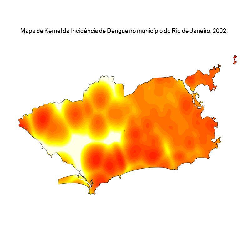 Mapa de Kernel da Incidência de Dengue no município do Rio de Janeiro, 2002.
