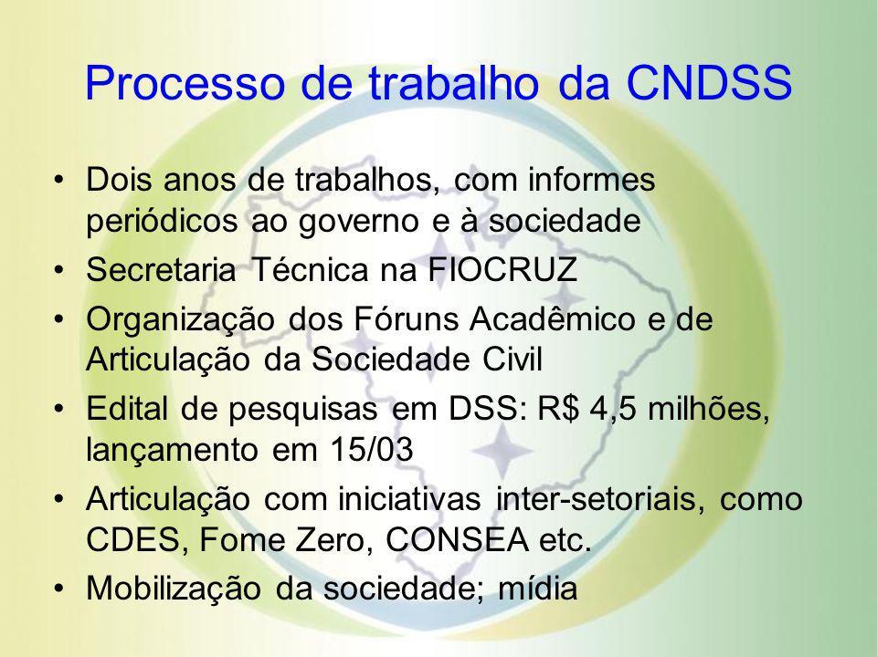 Processo de trabalho da CNDSS