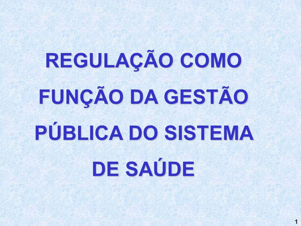 REGULAÇÃO COMO FUNÇÃO DA GESTÃO PÚBLICA DO SISTEMA DE SAÚDE