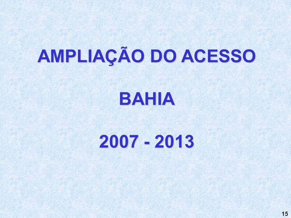 AMPLIAÇÃO DO ACESSO BAHIA 2007 - 2013