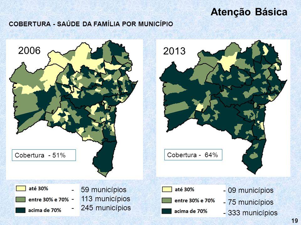 Atenção Básica 2006 2013 59 municípios - 09 municípios 113 municípios