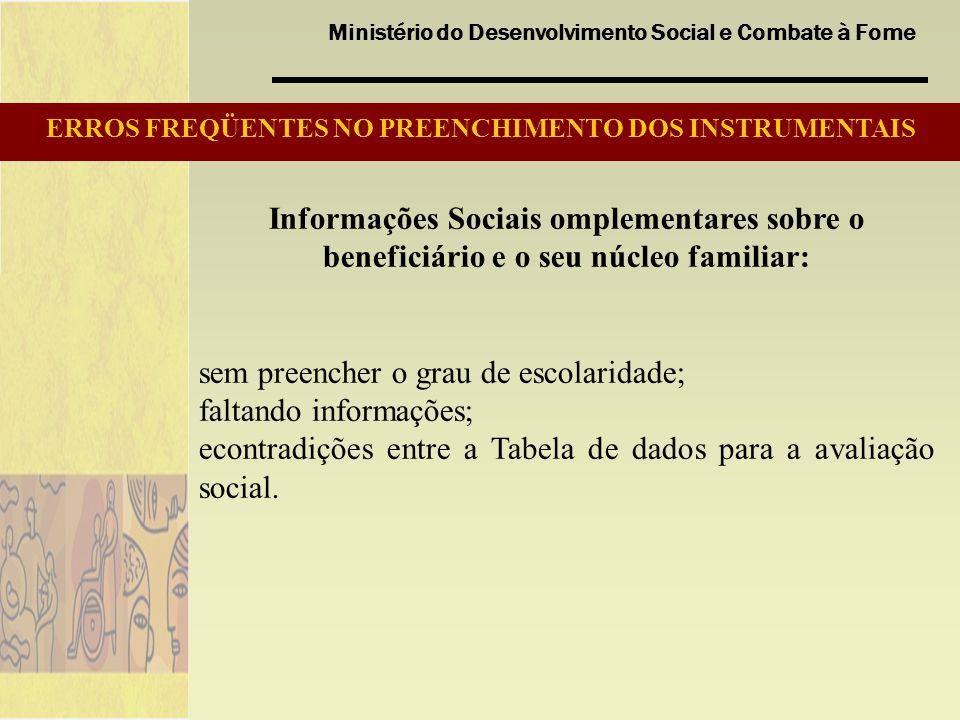 ERROS FREQÜENTES NO PREENCHIMENTO DOS INSTRUMENTAIS
