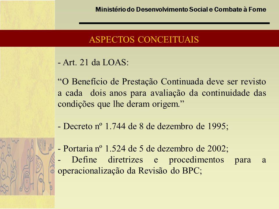 ASPECTOS CONCEITUAIS - Art. 21 da LOAS: