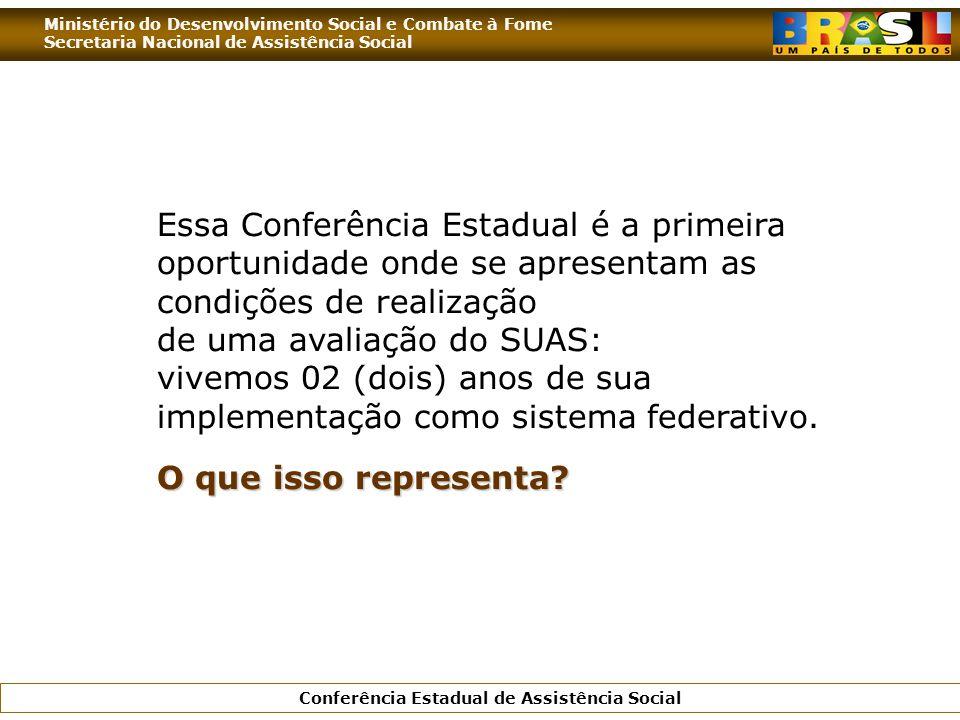 Essa Conferência Estadual é a primeira oportunidade onde se apresentam as condições de realização de uma avaliação do SUAS: vivemos 02 (dois) anos de sua implementação como sistema federativo.