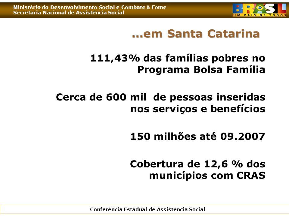 ...em Santa Catarina 111,43% das famílias pobres no Programa Bolsa Família. Cerca de 600 mil de pessoas inseridas nos serviços e benefícios.