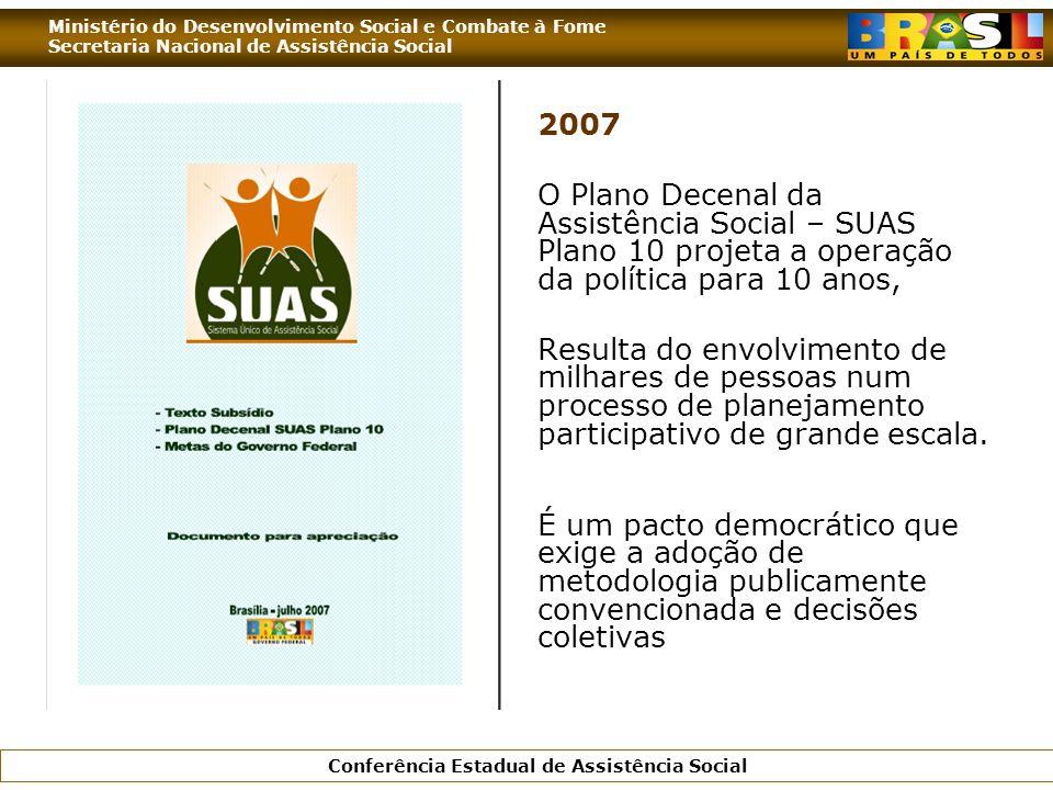 2007 O Plano Decenal da Assistência Social – SUAS Plano 10 projeta a operação da política para 10 anos,