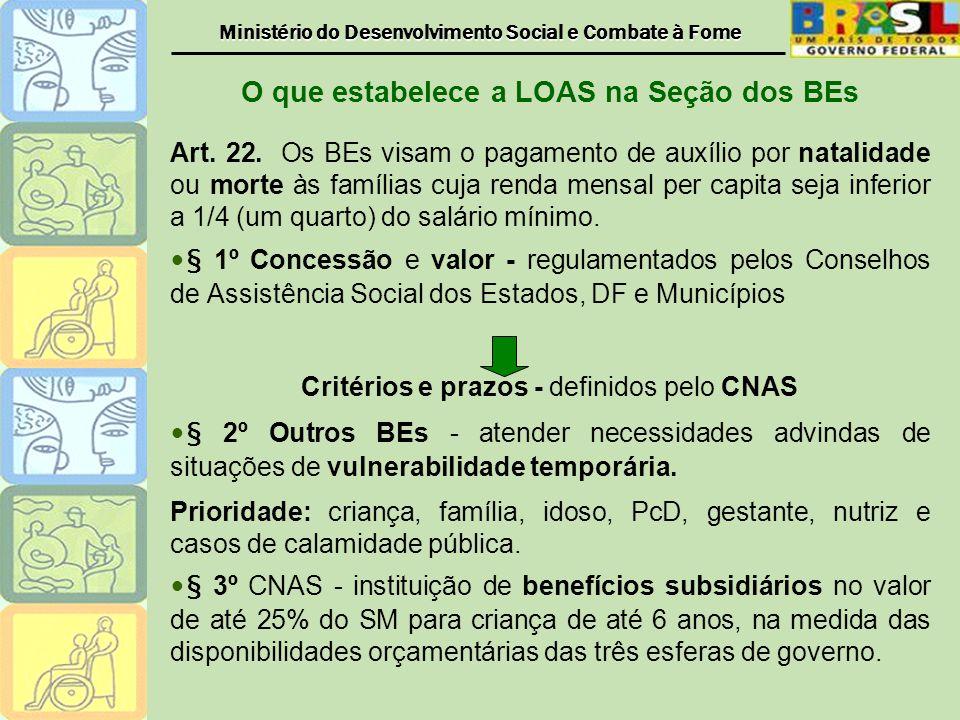 O que estabelece a LOAS na Seção dos BEs