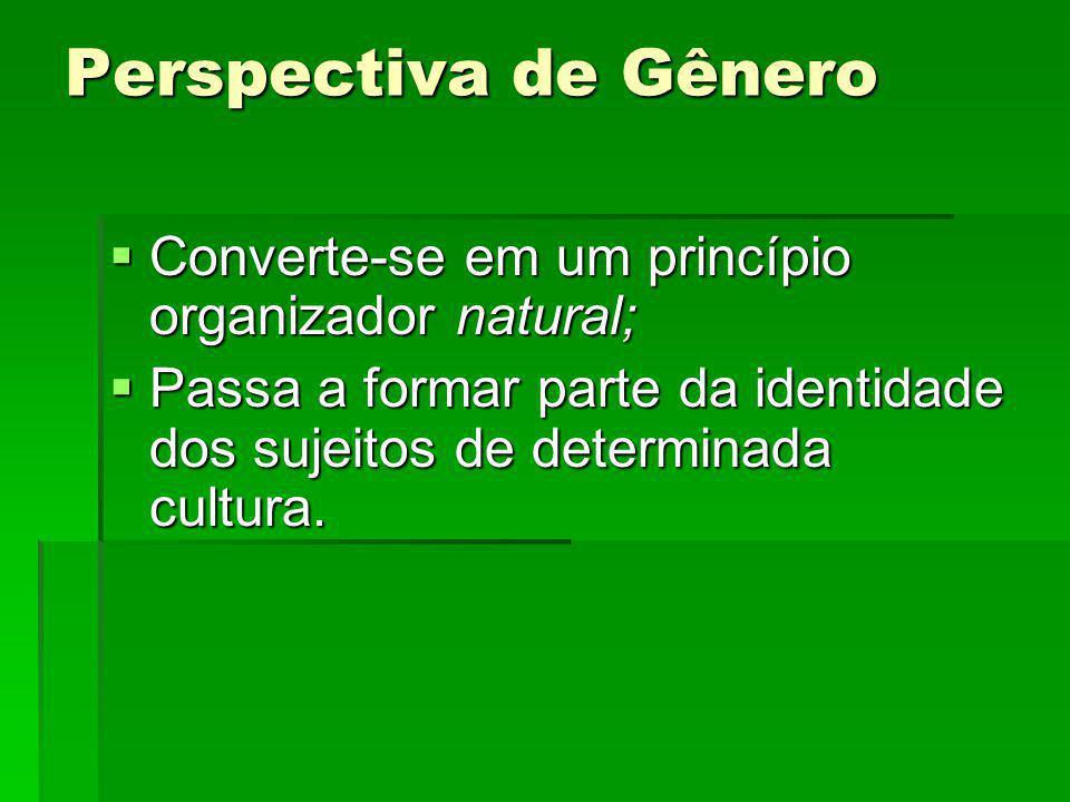 Perspectiva de Gênero Converte-se em um princípio organizador natural;