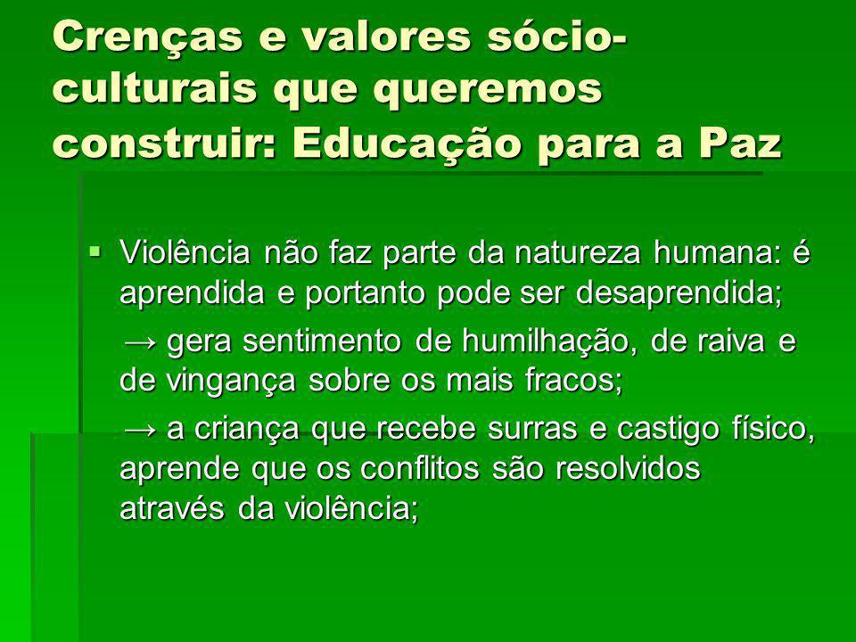 Crenças e valores sócio-culturais que queremos construir: Educação para a Paz