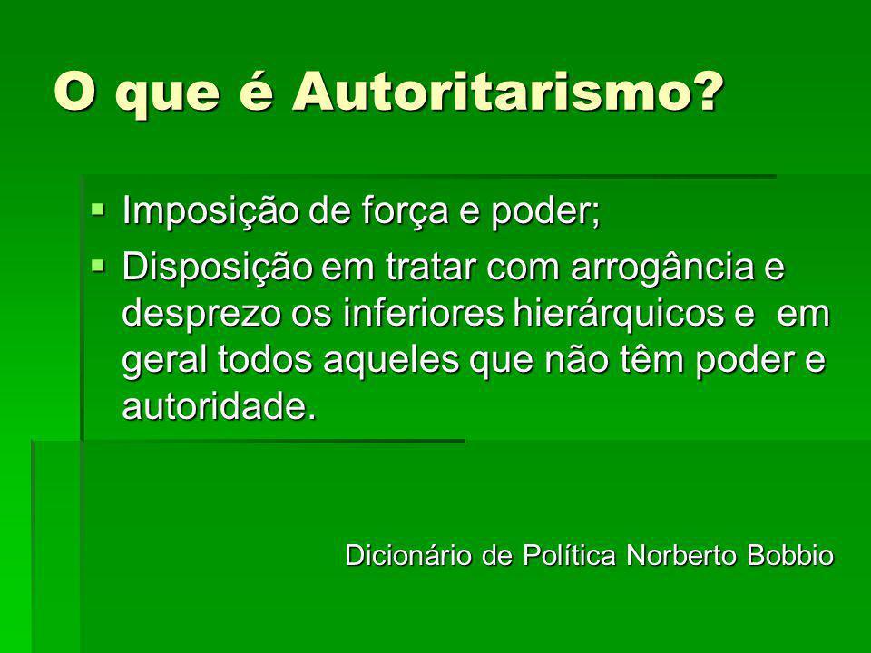O que é Autoritarismo Imposição de força e poder;