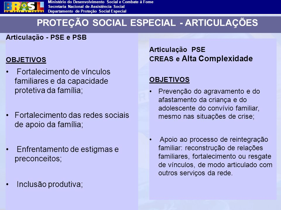 PROTEÇÃO SOCIAL ESPECIAL - ARTICULAÇÕES