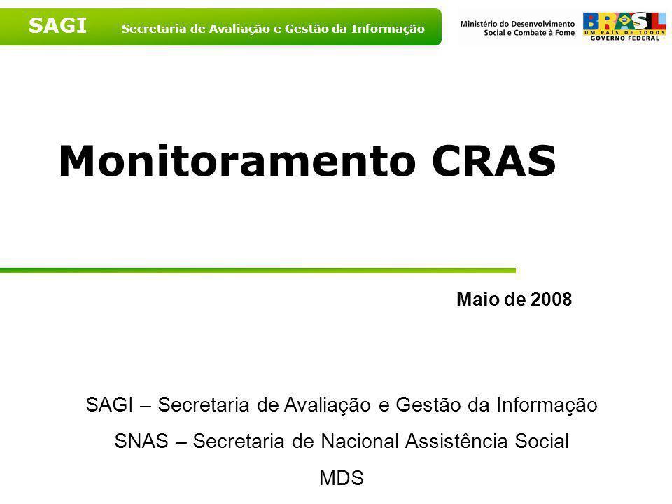 Monitoramento CRAS Maio de 2008. SAGI – Secretaria de Avaliação e Gestão da Informação. SNAS – Secretaria de Nacional Assistência Social.