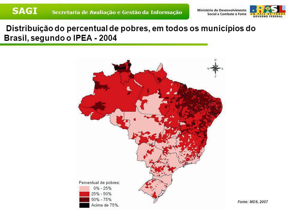 Distribuição do percentual de pobres, em todos os municípios do Brasil, segundo o IPEA - 2004