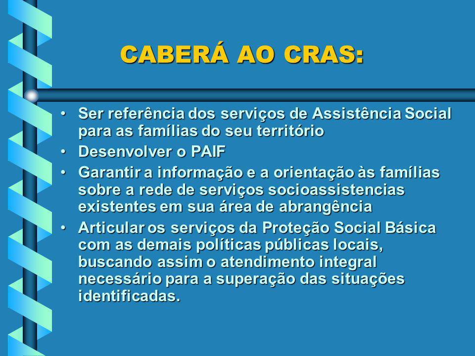 CABERÁ AO CRAS: Ser referência dos serviços de Assistência Social para as famílias do seu território.
