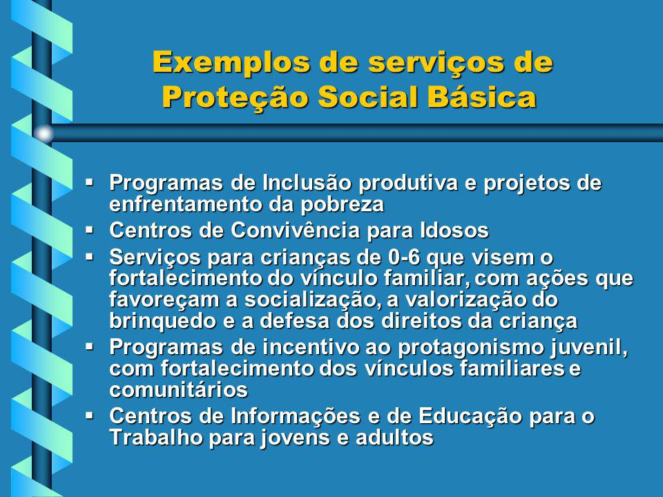 Exemplos de serviços de Proteção Social Básica