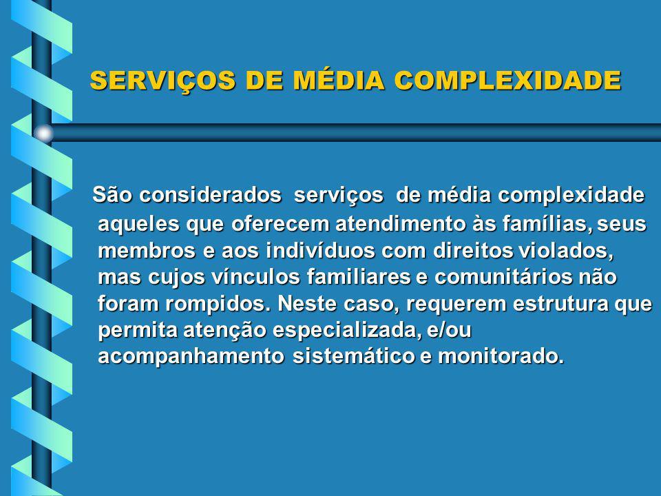 SERVIÇOS DE MÉDIA COMPLEXIDADE
