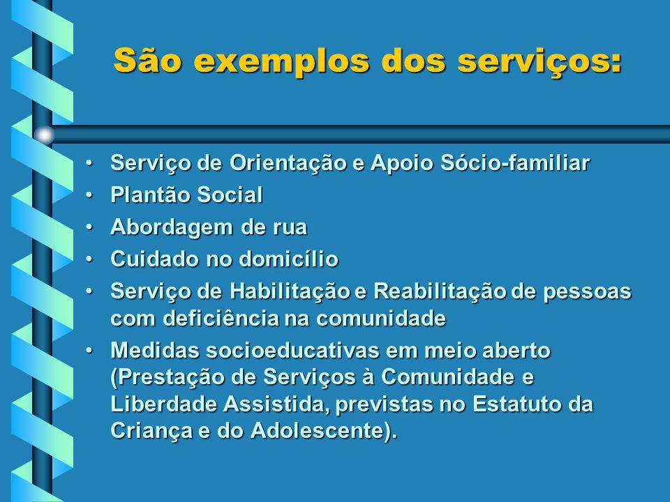 São exemplos dos serviços: