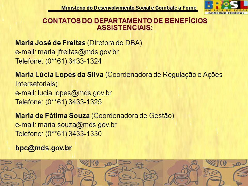 CONTATOS DO DEPARTAMENTO DE BENEFÍCIOS ASSISTENCIAIS: