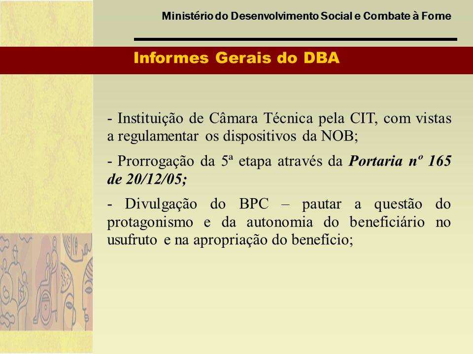 Informes Gerais do DBA - Instituição de Câmara Técnica pela CIT, com vistas a regulamentar os dispositivos da NOB;