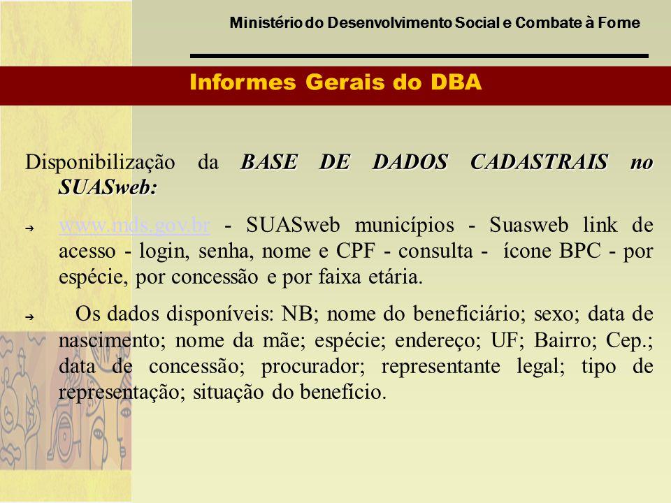 Informes Gerais do DBA Disponibilização da BASE DE DADOS CADASTRAIS no SUASweb:
