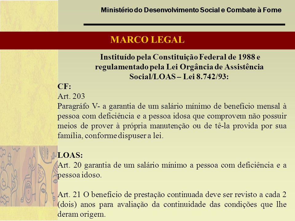 MARCO LEGAL Instituído pela Constituição Federal de 1988 e regulamentado pela Lei Orgância de Assistência Social/LOAS – Lei 8.742/93: