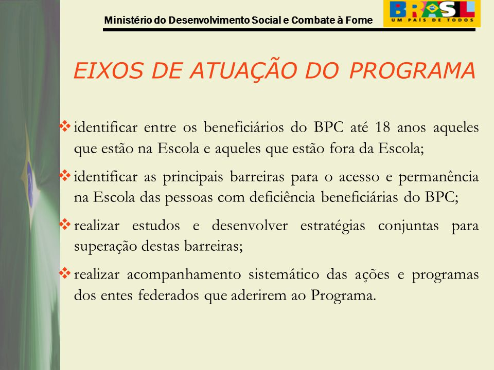 EIXOS DE ATUAÇÃO DO PROGRAMA