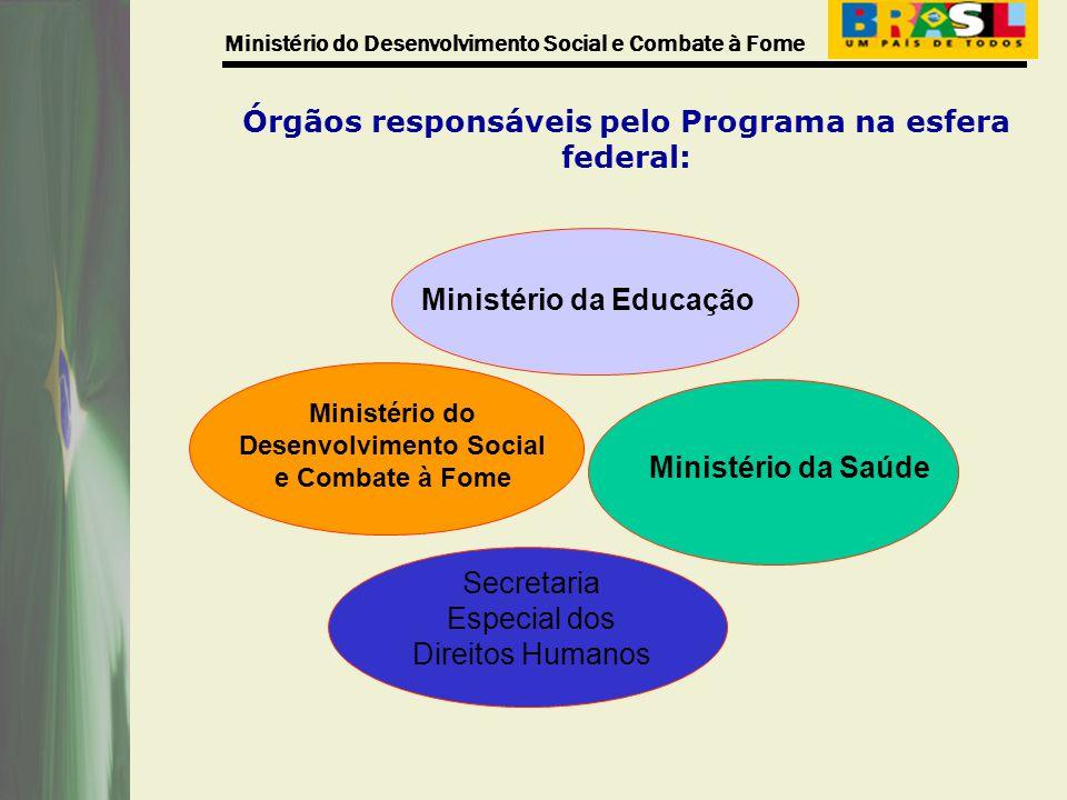 Órgãos responsáveis pelo Programa na esfera federal: