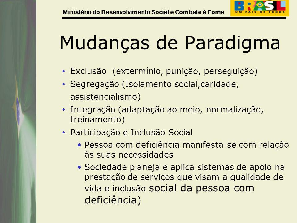 Mudanças de Paradigma Exclusão (extermínio, punição, perseguição)