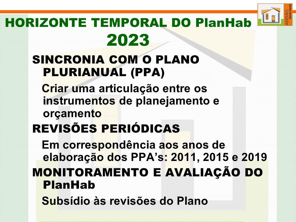 HORIZONTE TEMPORAL DO PlanHab 2023