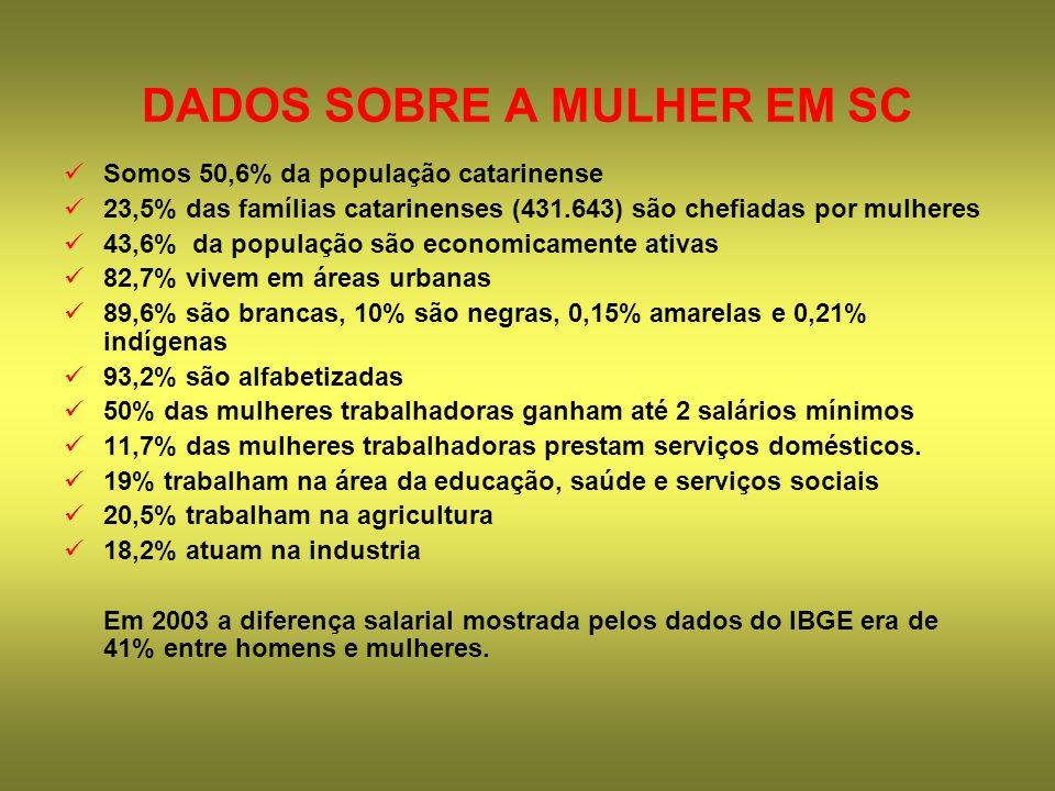 DADOS SOBRE A MULHER EM SC