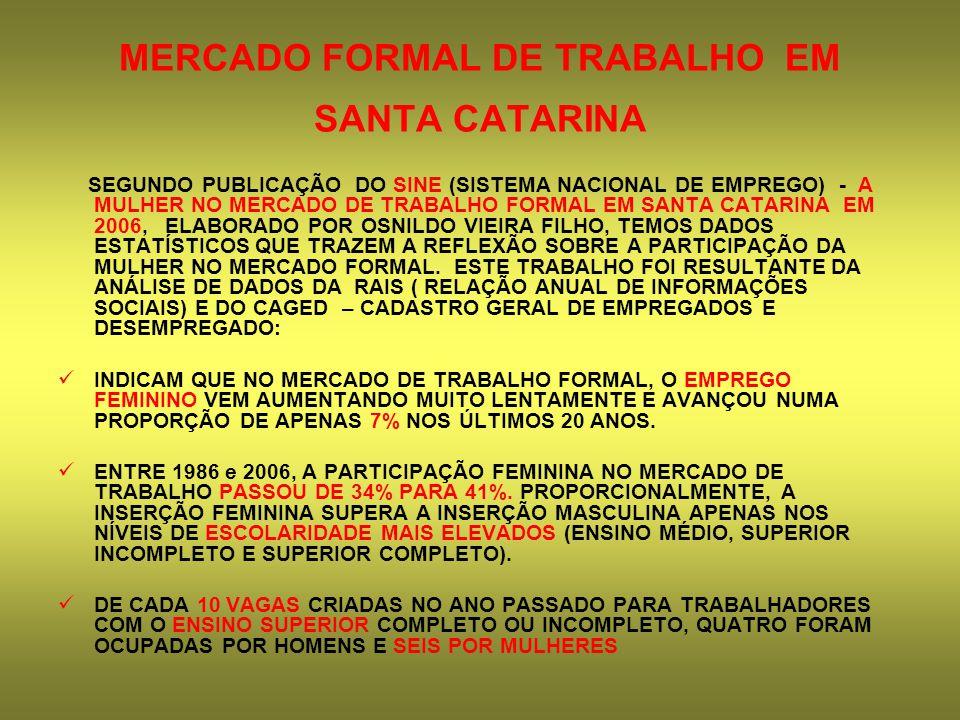 MERCADO FORMAL DE TRABALHO EM SANTA CATARINA