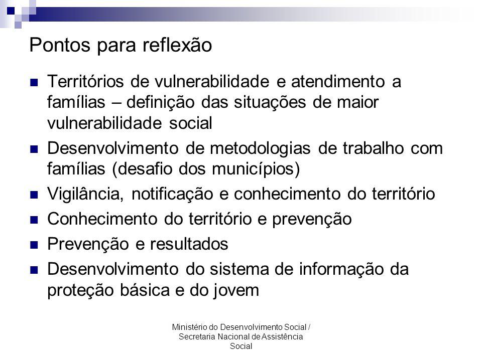 Pontos para reflexão Territórios de vulnerabilidade e atendimento a famílias – definição das situações de maior vulnerabilidade social.