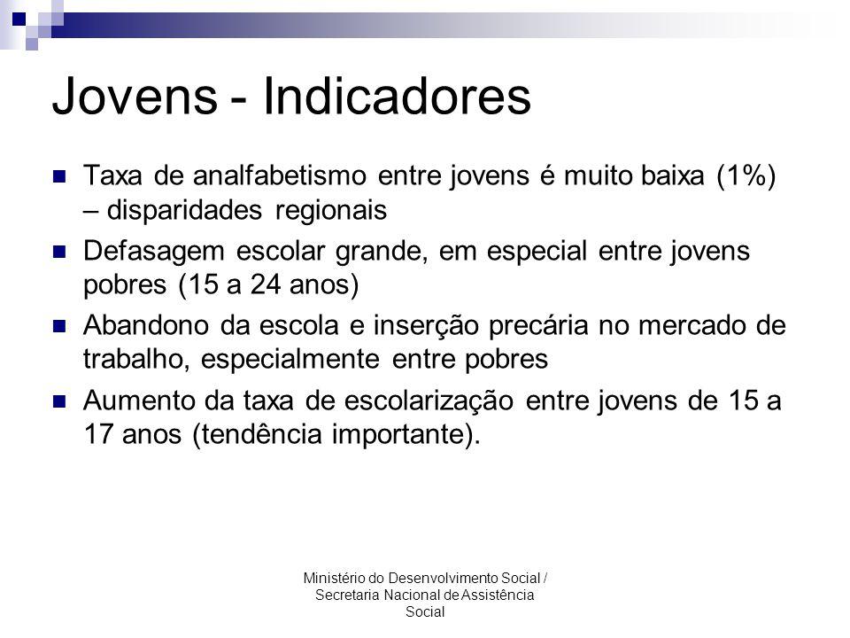 Jovens - Indicadores Taxa de analfabetismo entre jovens é muito baixa (1%) – disparidades regionais.