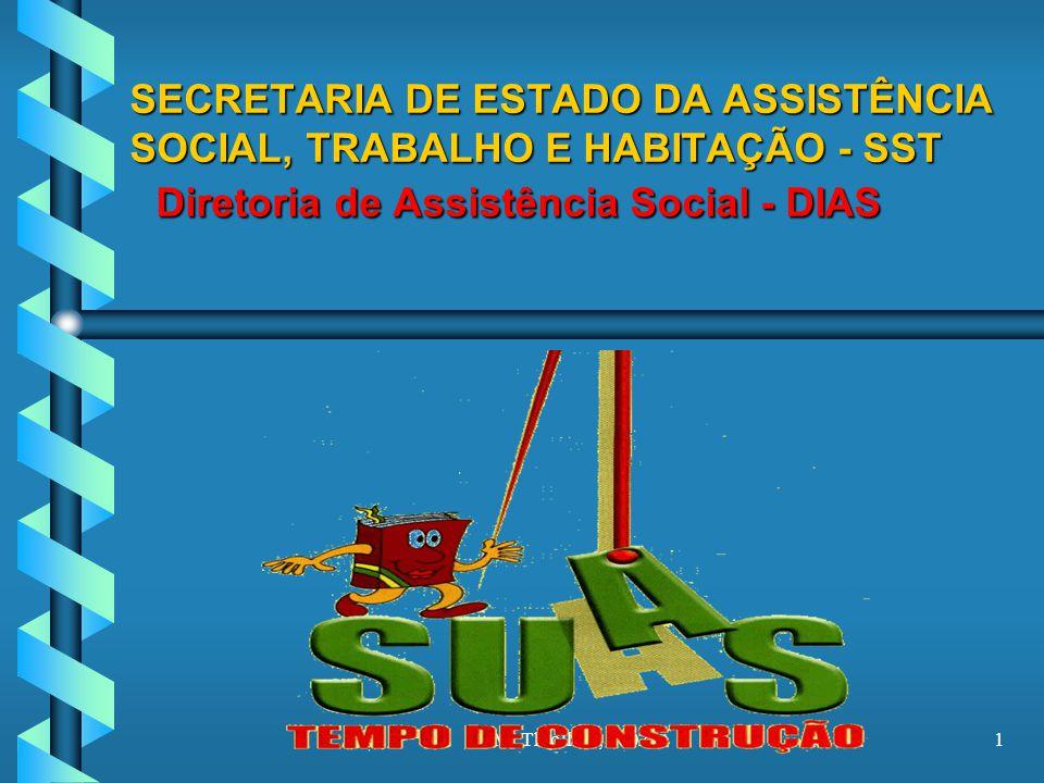SECRETARIA DE ESTADO DA ASSISTÊNCIA SOCIAL, TRABALHO E HABITAÇÃO - SST Diretoria de Assistência Social - DIAS