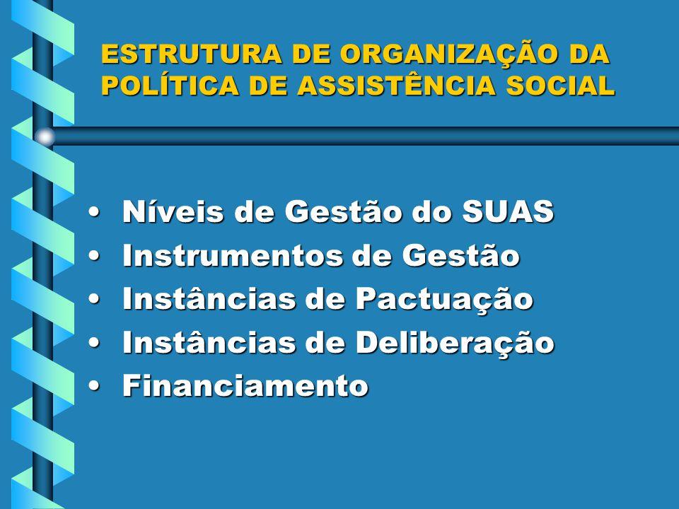 ESTRUTURA DE ORGANIZAÇÃO DA POLÍTICA DE ASSISTÊNCIA SOCIAL