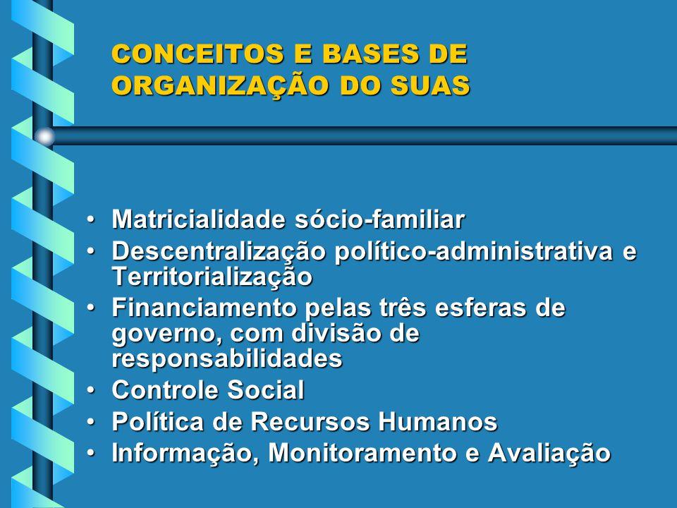 CONCEITOS E BASES DE ORGANIZAÇÃO DO SUAS