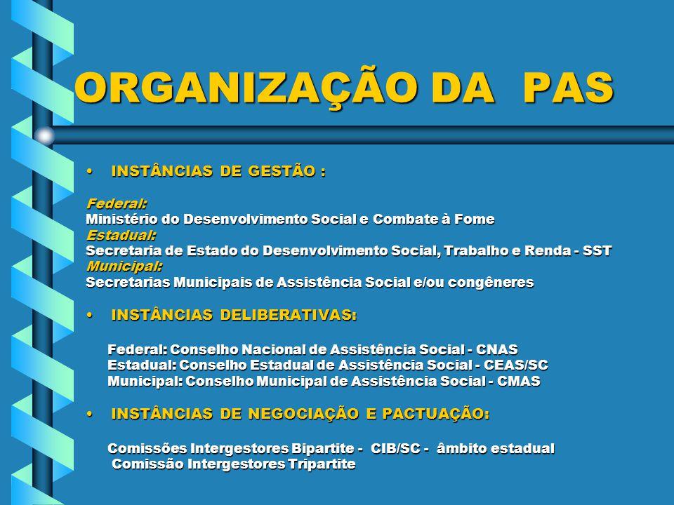 ORGANIZAÇÃO DA PAS INSTÂNCIAS DE GESTÃO : INSTÂNCIAS DELIBERATIVAS: