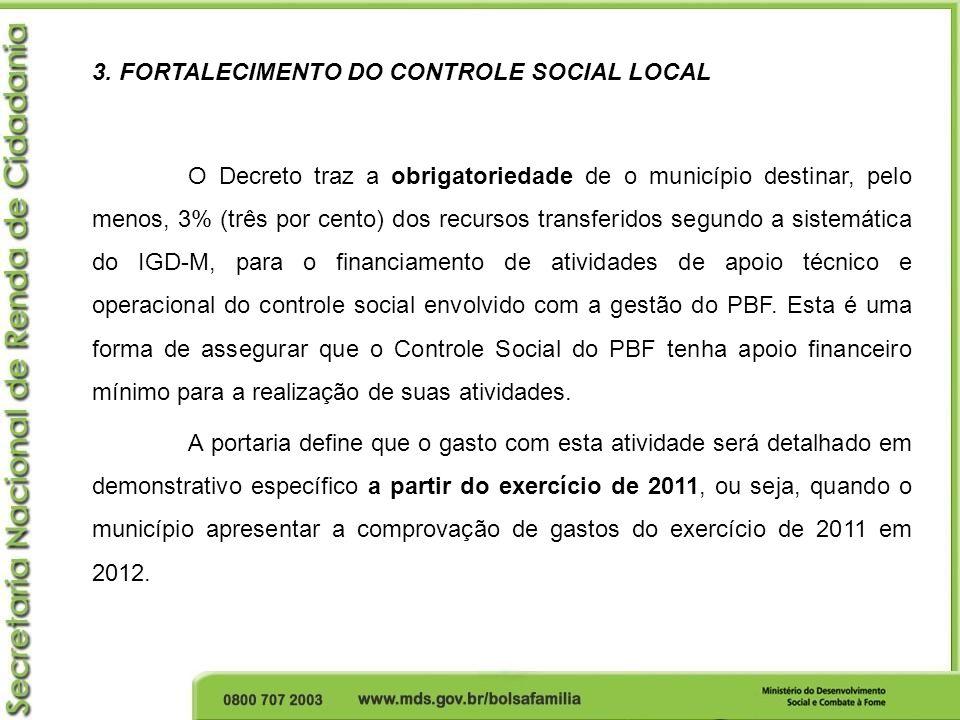 3. FORTALECIMENTO DO CONTROLE SOCIAL LOCAL