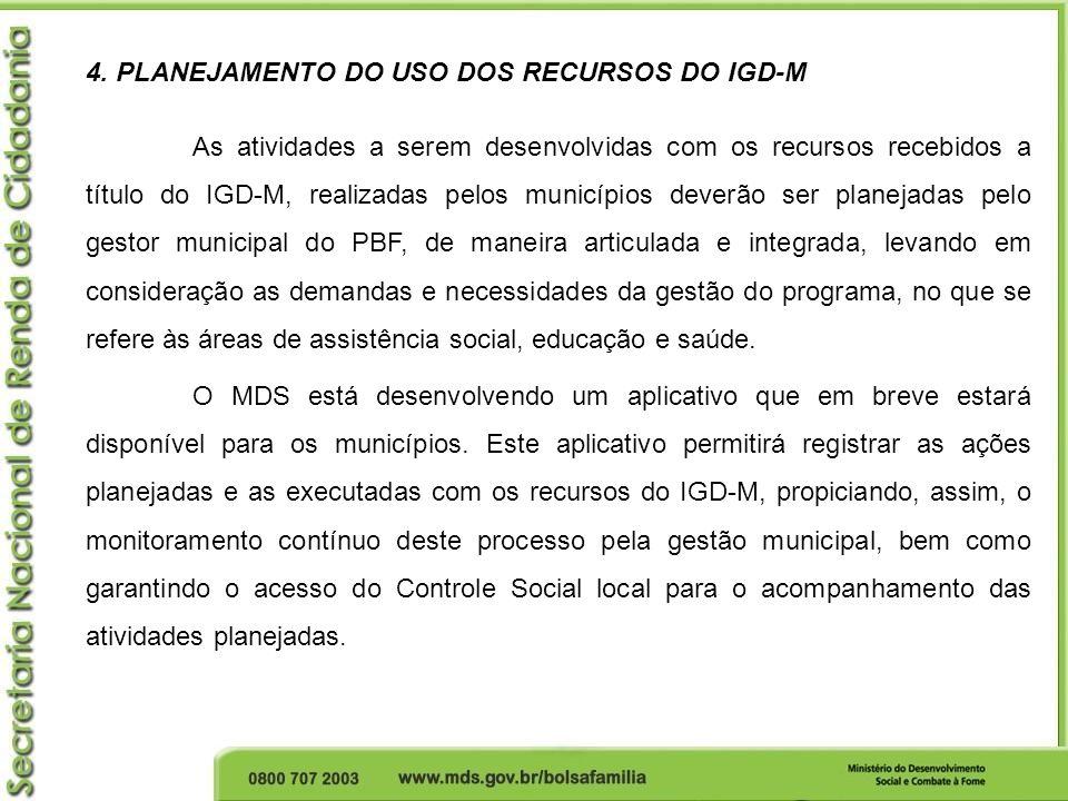 4. PLANEJAMENTO DO USO DOS RECURSOS DO IGD-M
