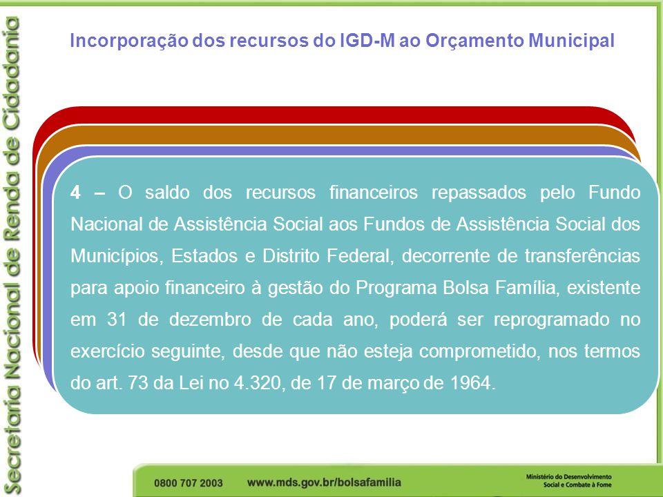 Incorporação dos recursos do IGD-M ao Orçamento Municipal